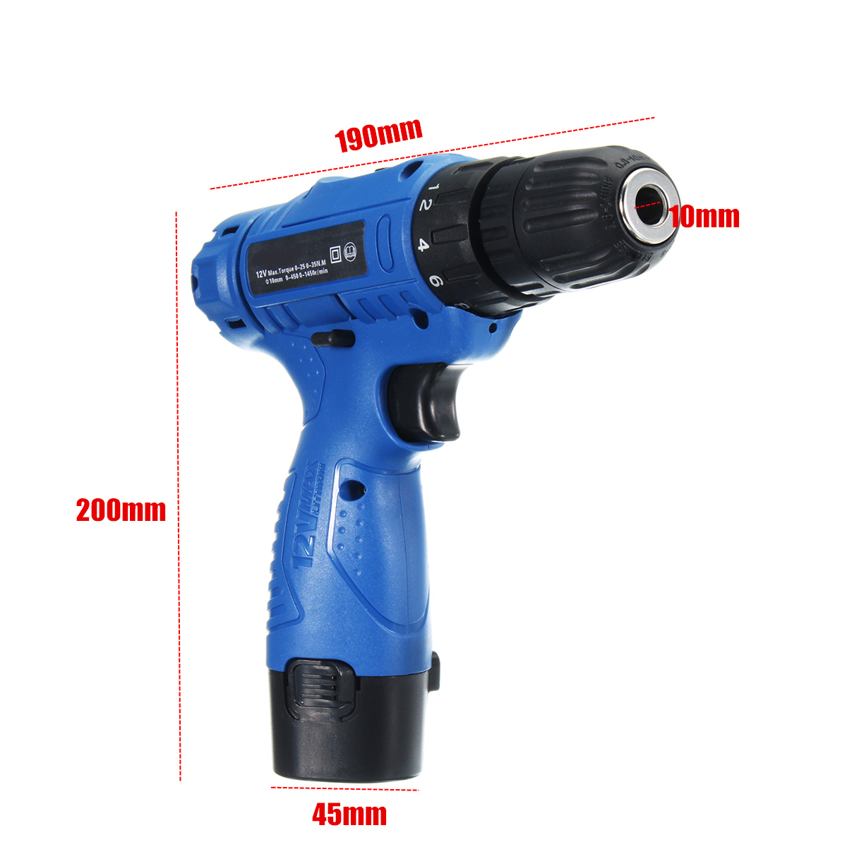 12V Rechargeable Cordless Drill Lithium-Ion Battery Electric Screwdriver Power Drill