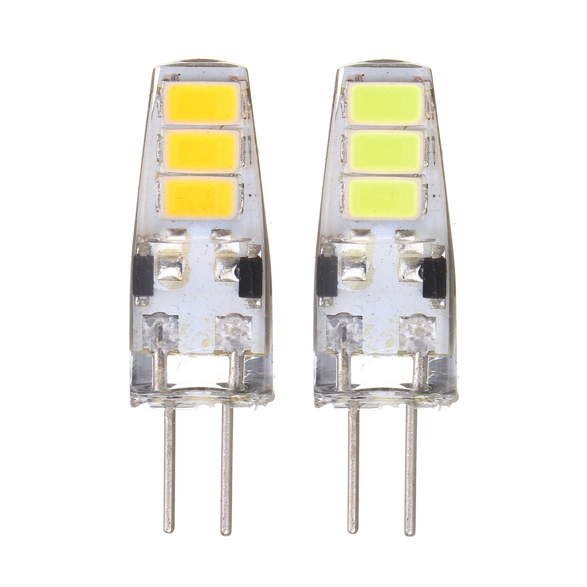 10X G4 2W SMD5733 6LEDs Pure White Warm White Silicone Light Bulb DC12V