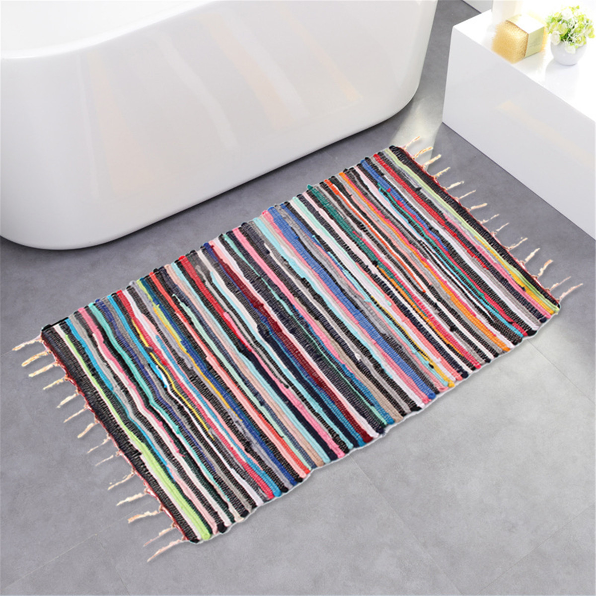 Large Size Handmade Mat Cotton Multicolor Braided Tassel Area Striped Floor Rugs Home Carosets