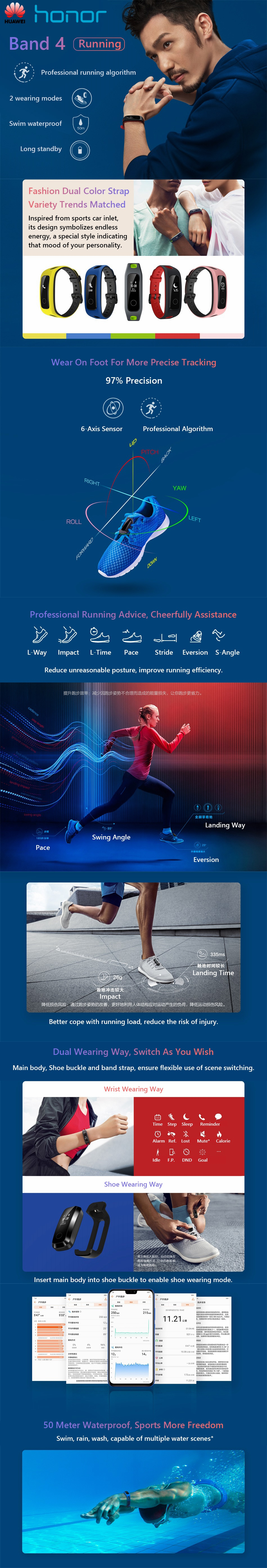 Huawei Honor Band 4 Running Version Shoe-Buckle Land Impact Sleep Snap Monitor Long Standby Smart Watch Band