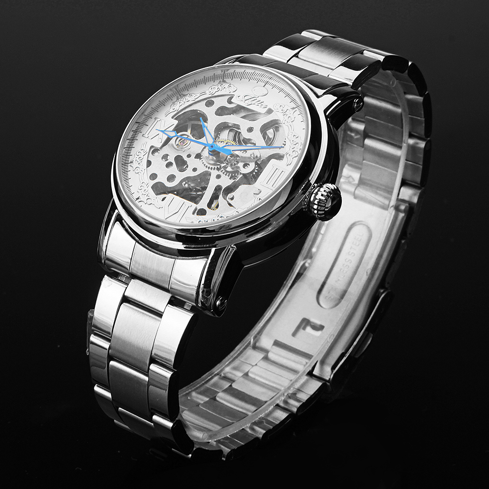 JIJIA Luxury Men Watch Hollow Roman Number Mechanical Watch