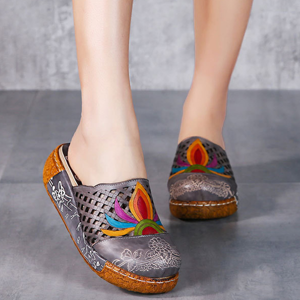 SOCOFY Flower Colorful Hollow Out Soft Slip On Slippers