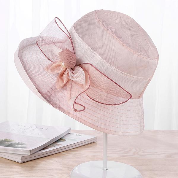 Women Summer Thin Breathable Bow Visor Beach Hat
