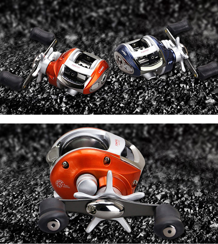 ZANLURE LV200/201 6.2:1 12+1BB Stainless Steel Baitcasting Fishing Reel Left / Right Water Drop Fishing Wheel
