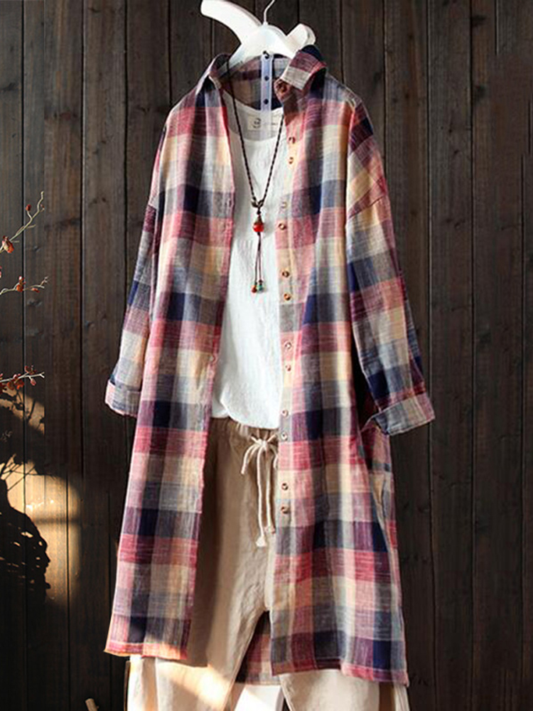 Women Long Sleeve Lapel Oversize Plaid Blouse
