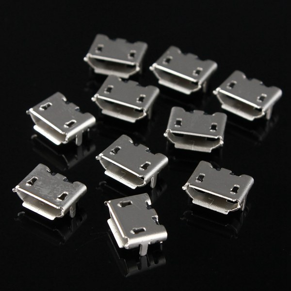 10PCS Micro USB Type B Female 5 Pin Socket PCB Soldering Connector