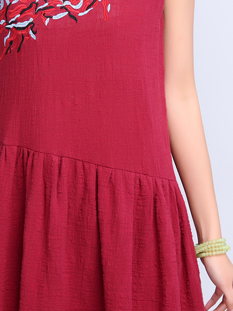 Elegant Women Embroidery Sleeveless Ruffle Irregular Dress