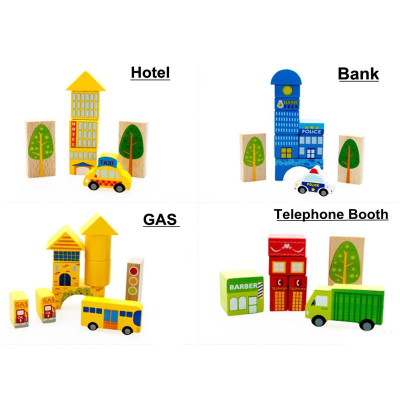 62PCS City Traffic Building Blocks Wooden DIY Assembling Bricks For Kids Educational Gift Toys