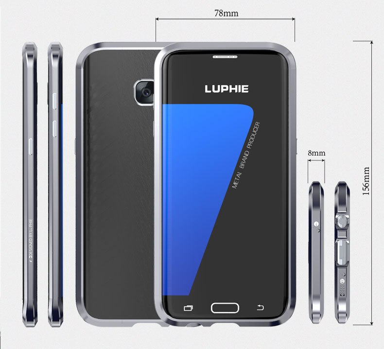 Luphie Metal Frame+Leather Sticker Shell Case For Samsung S7/S7 Edge