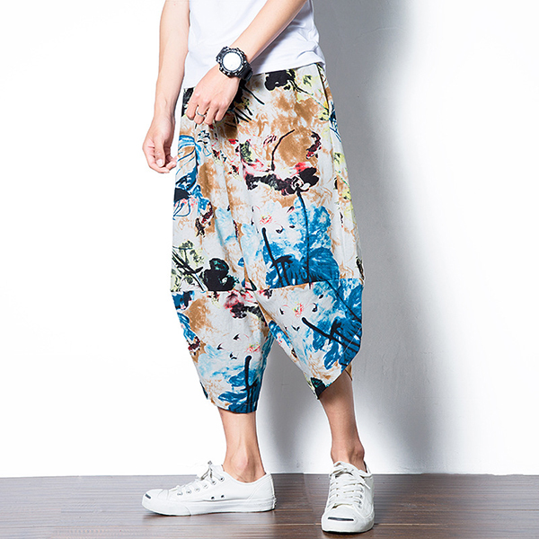 Men's Ethnic Style Printed Baggy Harem Pants