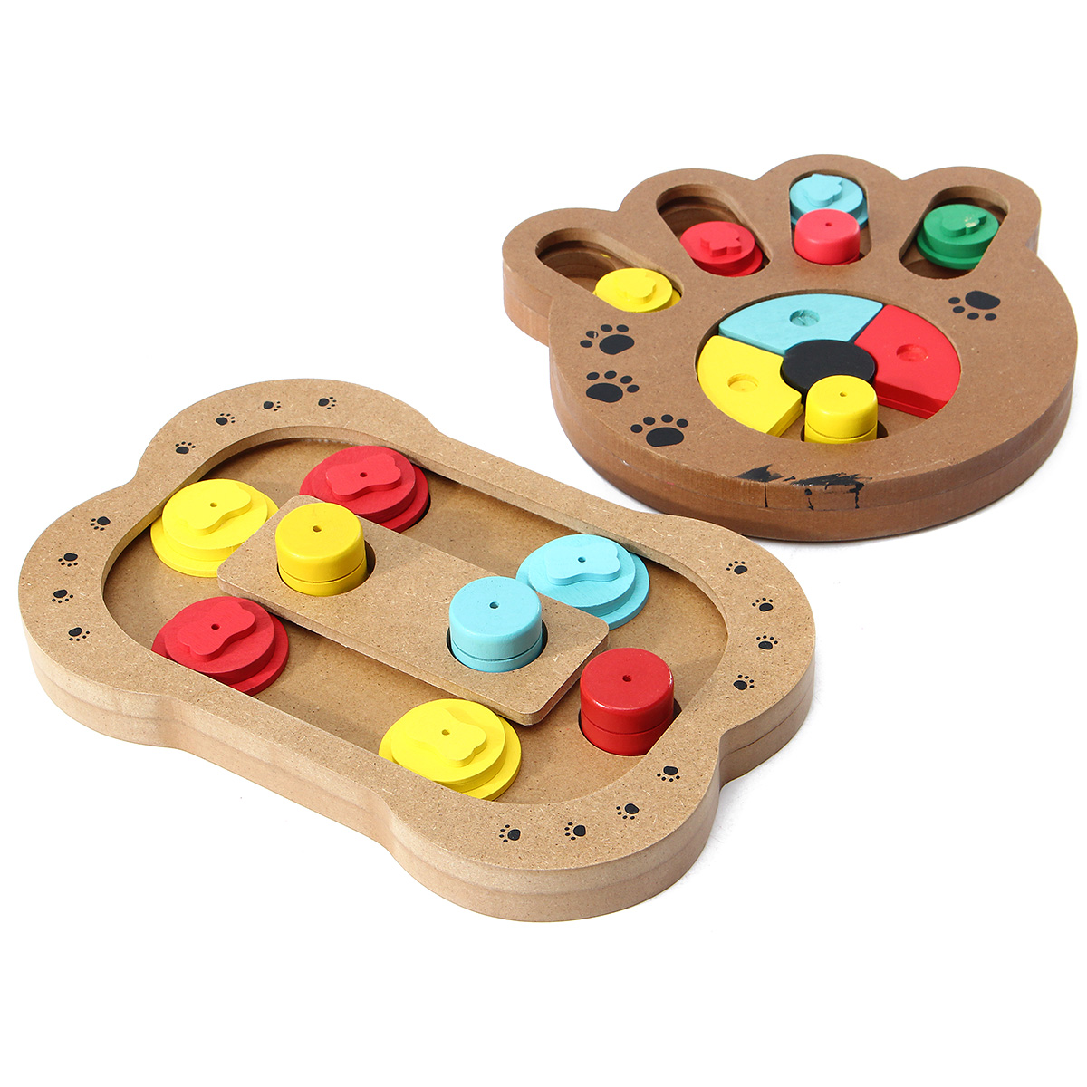 Dog Cat Pet Game IQ Training Toy Interactive Wooden Food Dispensing Puzzle Plate