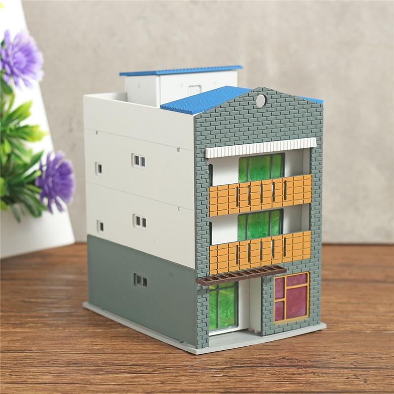 N Scale Gauge 1/144 White 4 Story Commercial Trade Model Building GUNDAM Model Scene