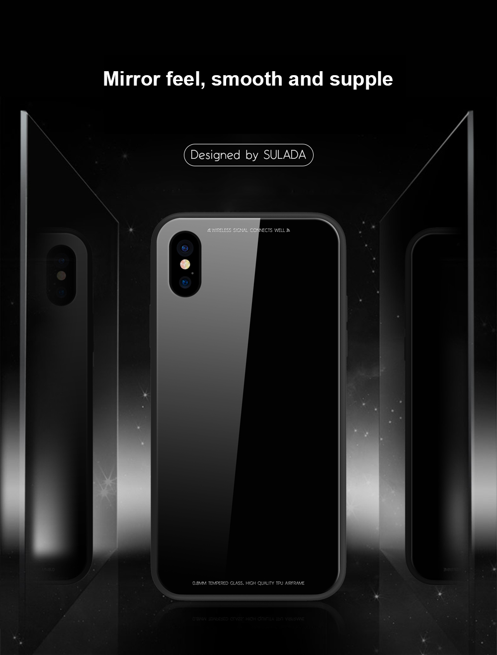 Sulada Metal Aluminium Bumper 9h Tempered Glass Back Case For Iphone Samsung Note 4 Mirror Backcase With Black X 6 6s Plus