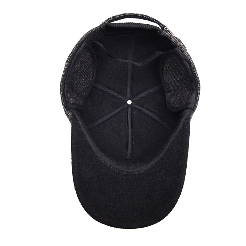 Mens Bone Snapback Baseball Cap Ear Protection Hats Thick Warm Wool Tweed Caps