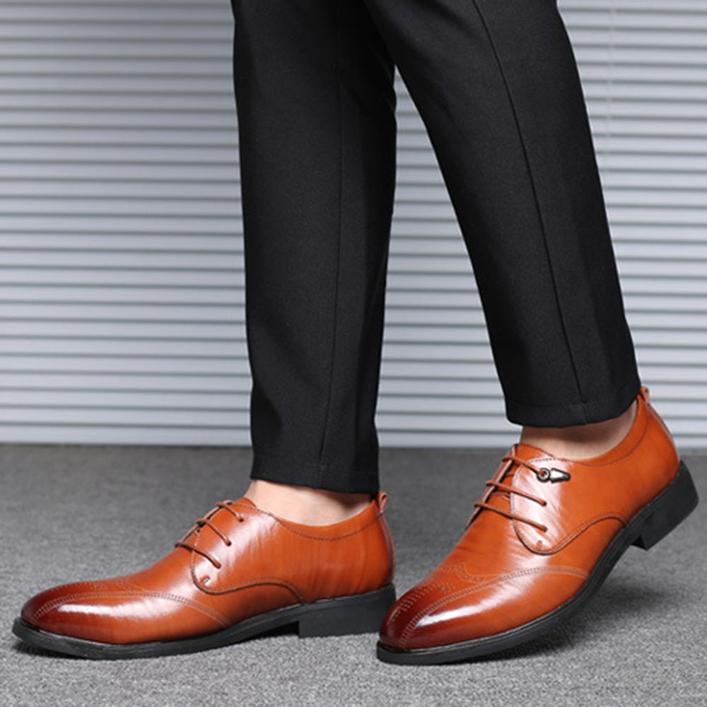 Men Casual Brogue Style Comfy Leather Business Shoes