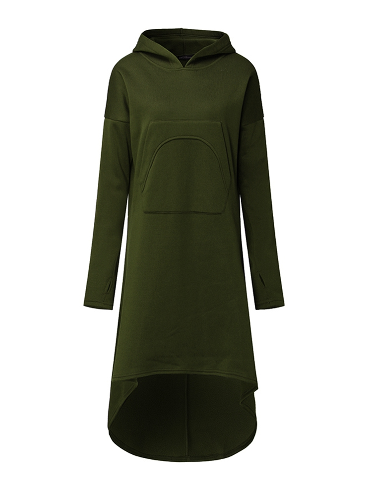 Casual Women Hooded High Low Sweatshirt Dress