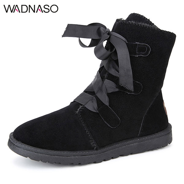 WADNASO Winter Plush Cotton Women Mid-Calf Boots Keep Warm Comfortable Lace Up Snow Boots