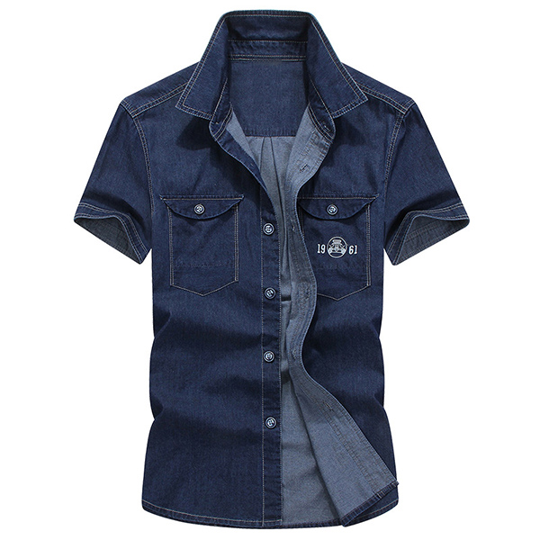 Denim Plus Size Casual Thin Cotton Breathable Short Sleeve Double Chest Pockets Men Shirts