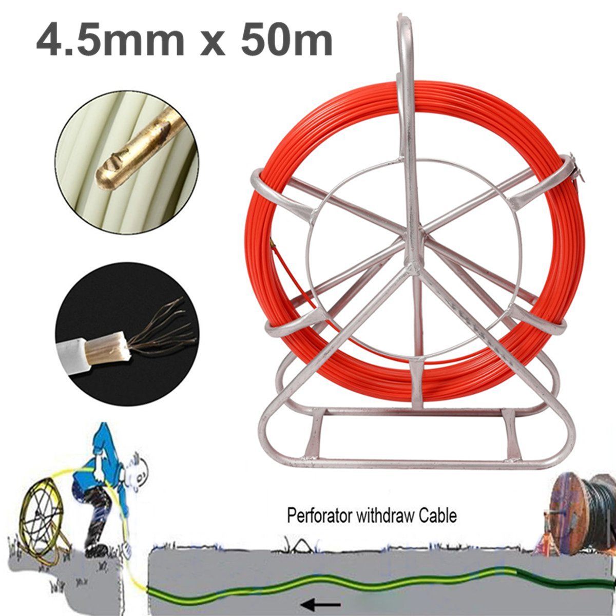 Fish Tape Fiberglass Duct Rodder Continuous Fiberglass Cable Puller Wire Running Wheel Stand
