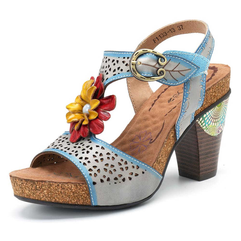 SOCOFY Hollow Floral Genuine Leather Hook Loop Sandals