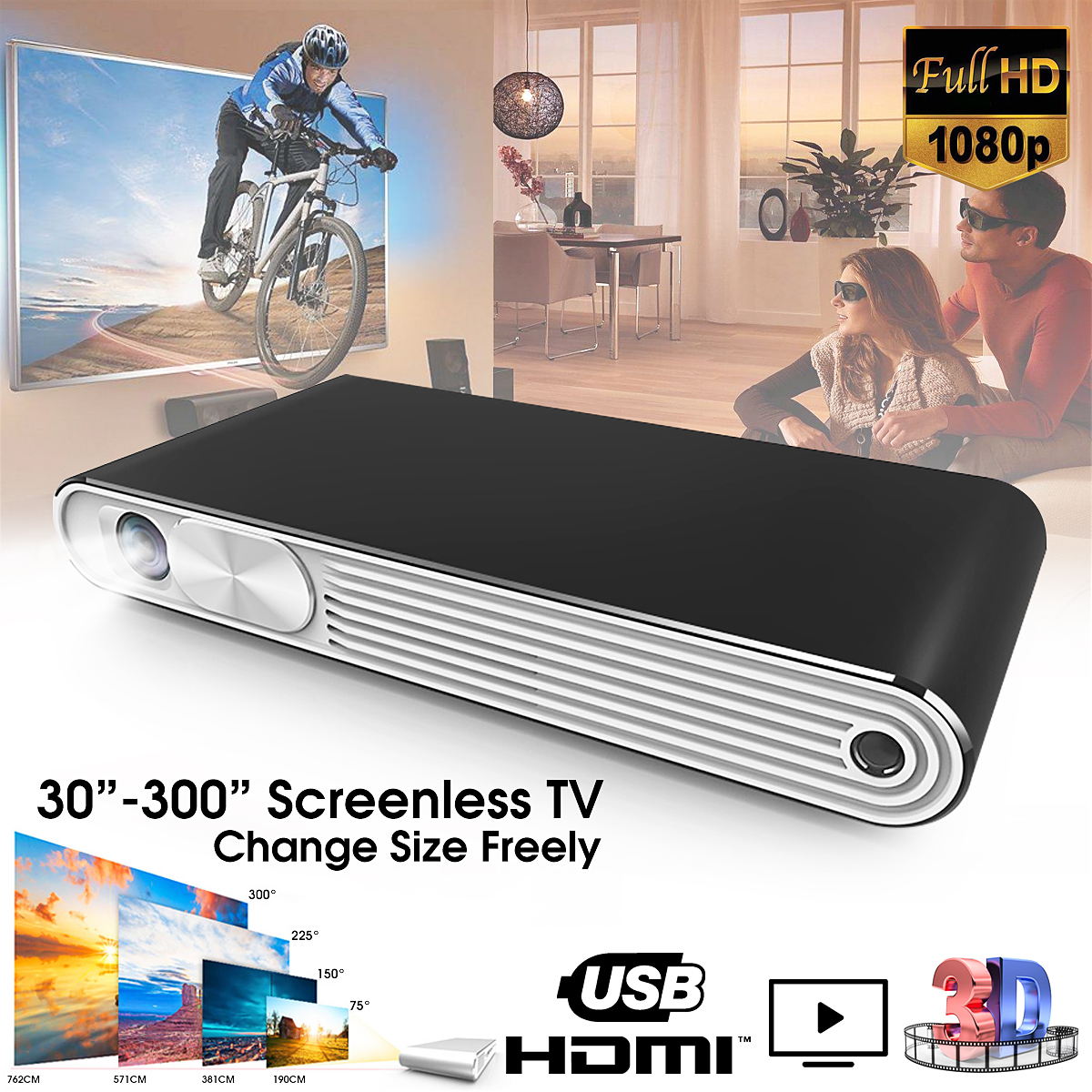 Kixin K2 Wifi 1080P HD 3D Mini Portable 300 Ansi Lumens DLP Multimedia Projector With Remote Control