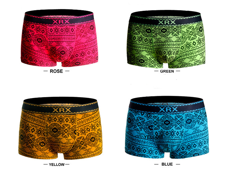 Bamboo Fiber Breathable Soft Printing Traceless Boxer Briefs