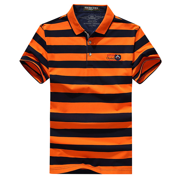 Mens Casual Striped Short Sleeve Golf Shirt
