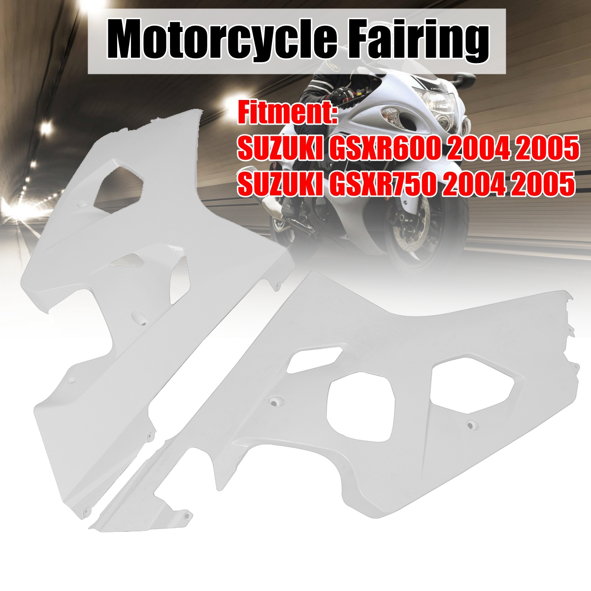 Pair Left & Right Unpainted Motorcycle ABS Injection Fairing for SUZUKI GSXR600/750 2004 2005