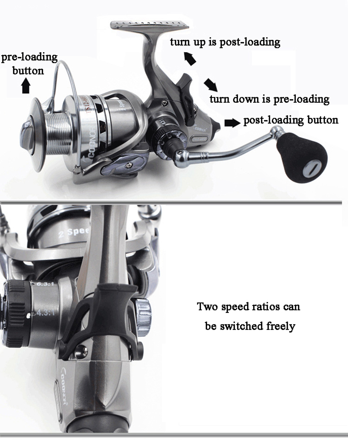 Bobing Coonor TS 4000/6000 Spinning Fishing Reel Doule Unloading Speed Spools Saltwater Pesca Wheel