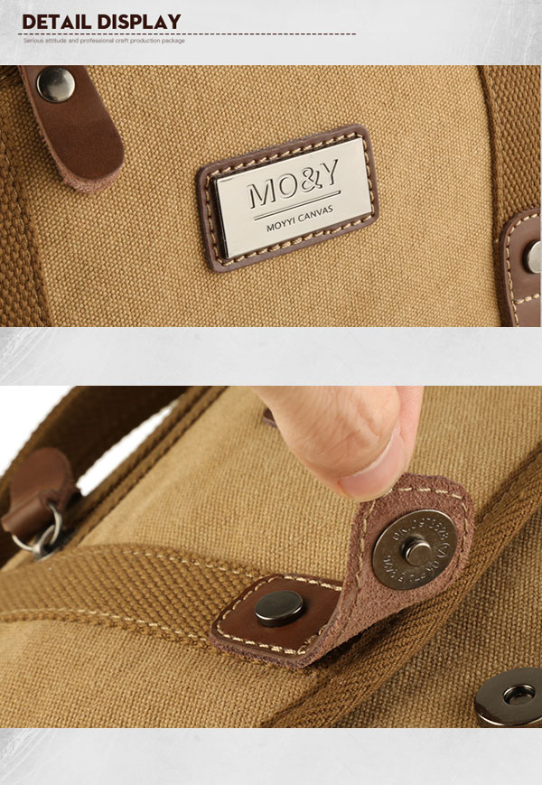 Canvas Casual Business Handbag Street Outdoor Shoulder Bag Khaki Messenger Bag
