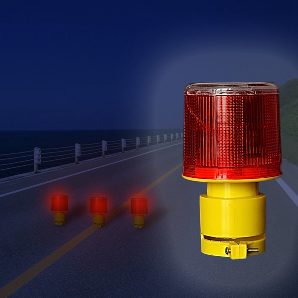 Solar Powered Traffic Warning Light LED Safety Signal Beacon Emergency Alarm Lamp