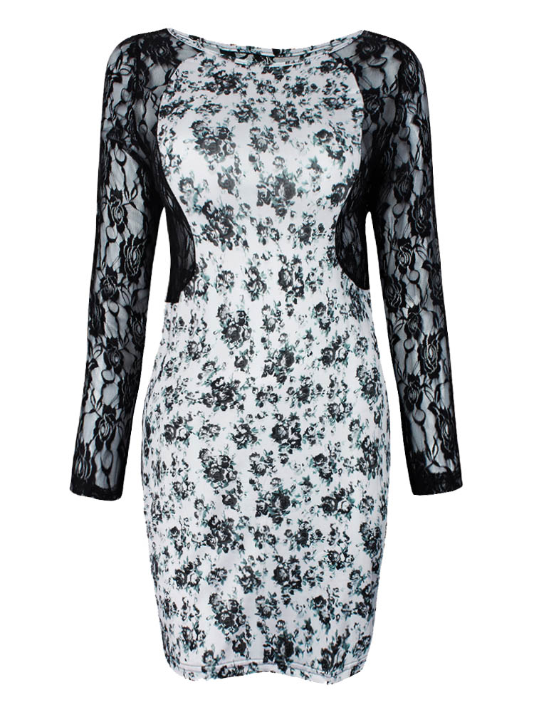 Sexy Women Plus Size Flowers Leopard Lace Dress