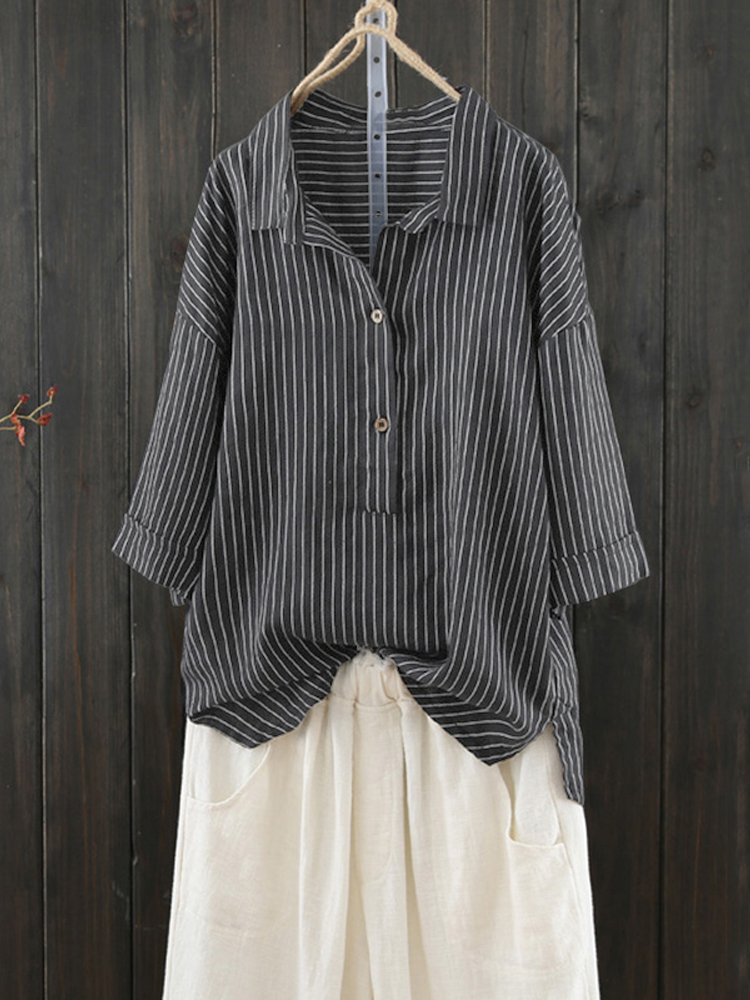 Women Stripe Retro Buttons Turn Down Collar Blouse Shirt