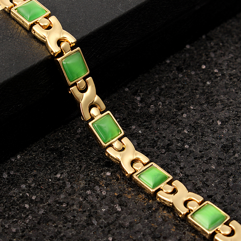 Opals Health Magnetic Therapy Bracelet 18K Gold Wristband Jewelry For Women