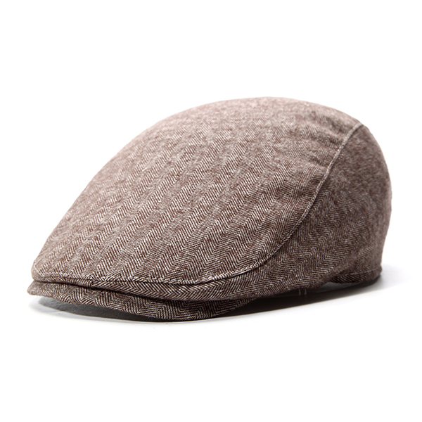 Mens Striped Cotton Beret Caps Solid Casual Elastic Buckle Warm Golf Forword Hat