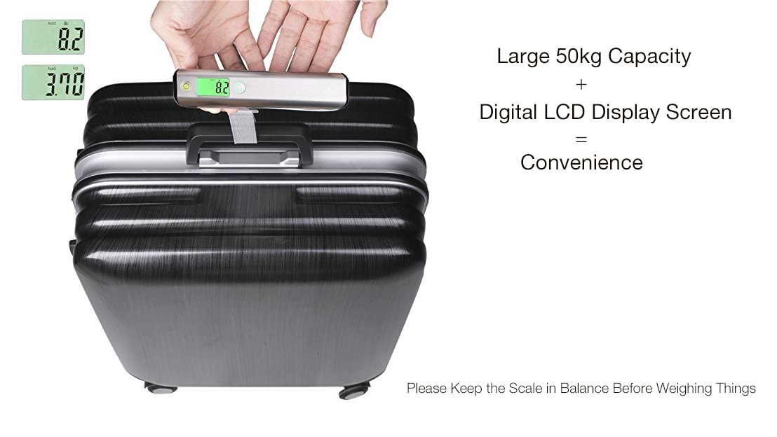 Loskii KG-100 Poratble High Accuracy 50kg Digital LCD Stainless Steel Capacity Hand Carry Weighing Device Luggage Scale