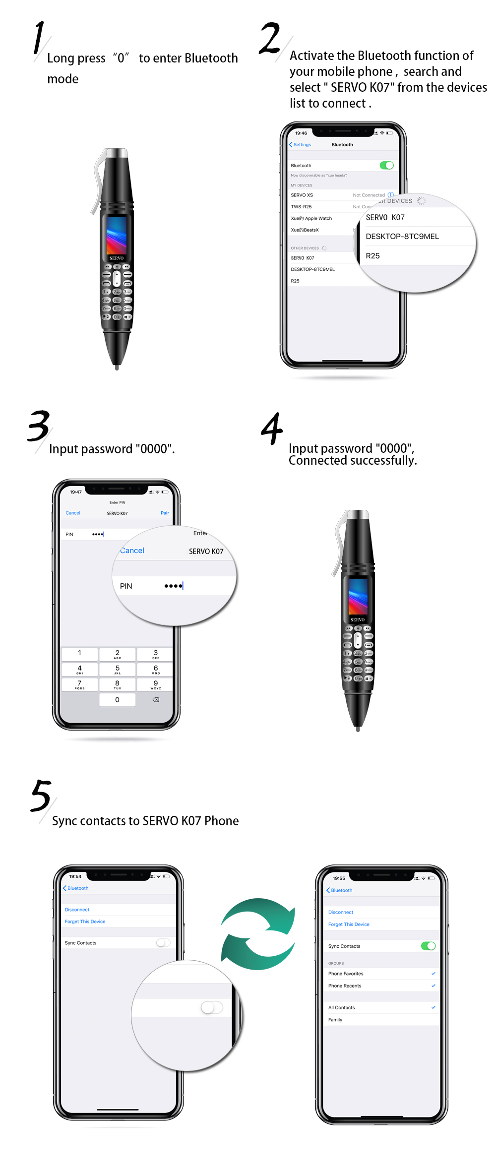 SERVO K07 0.96inch 300mAh bluetooth Dialer Recording Pen Handwriting Pen Flashlight Camera Dual SIM Mini Card phone