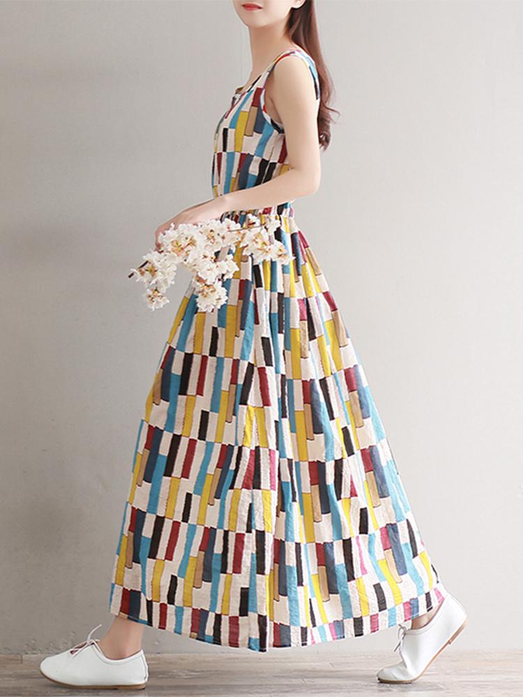 Casual Women Cotton Linen Elastic Waist Sleeveless Dress