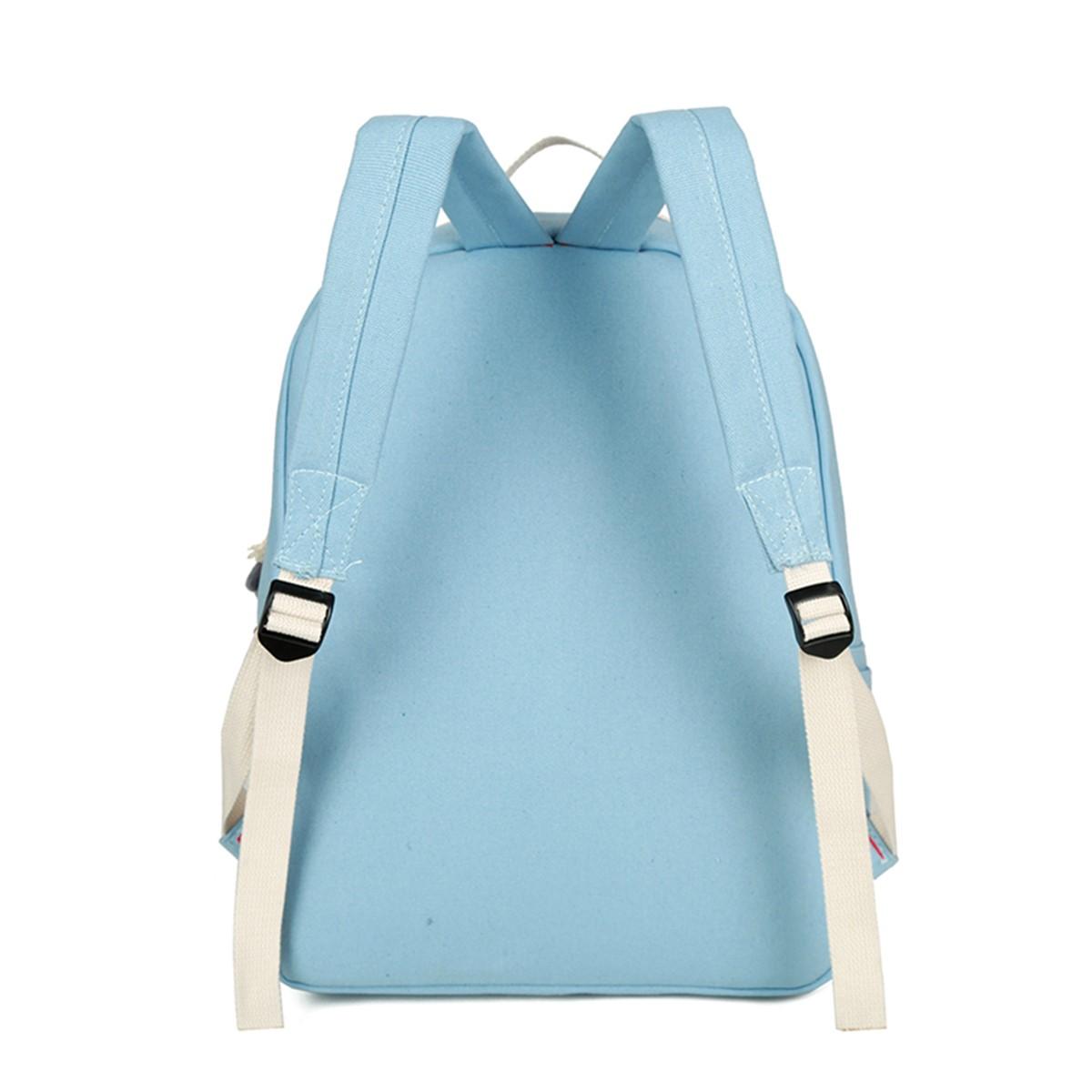 5Pcs Ultralight Canvas Panda Print Travel Backpack Rucksack School Bags for Women