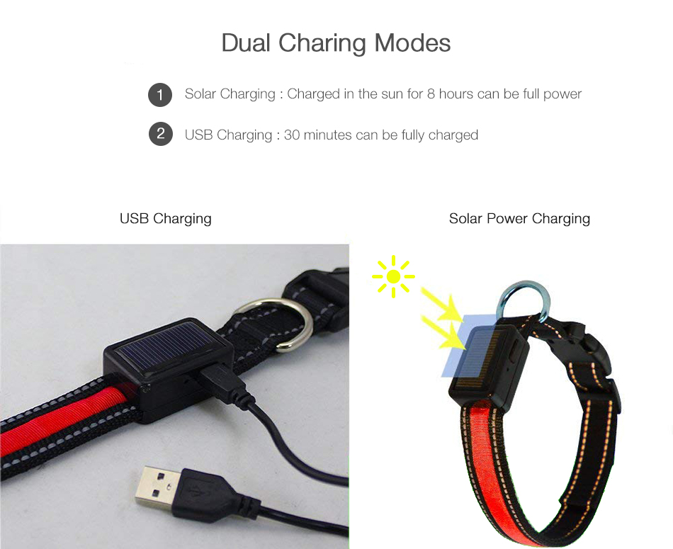 Yani Solar Power USB Charging Electronic LED Flashing Light Safe Nylon Dog Pet Collar for Different Dogs