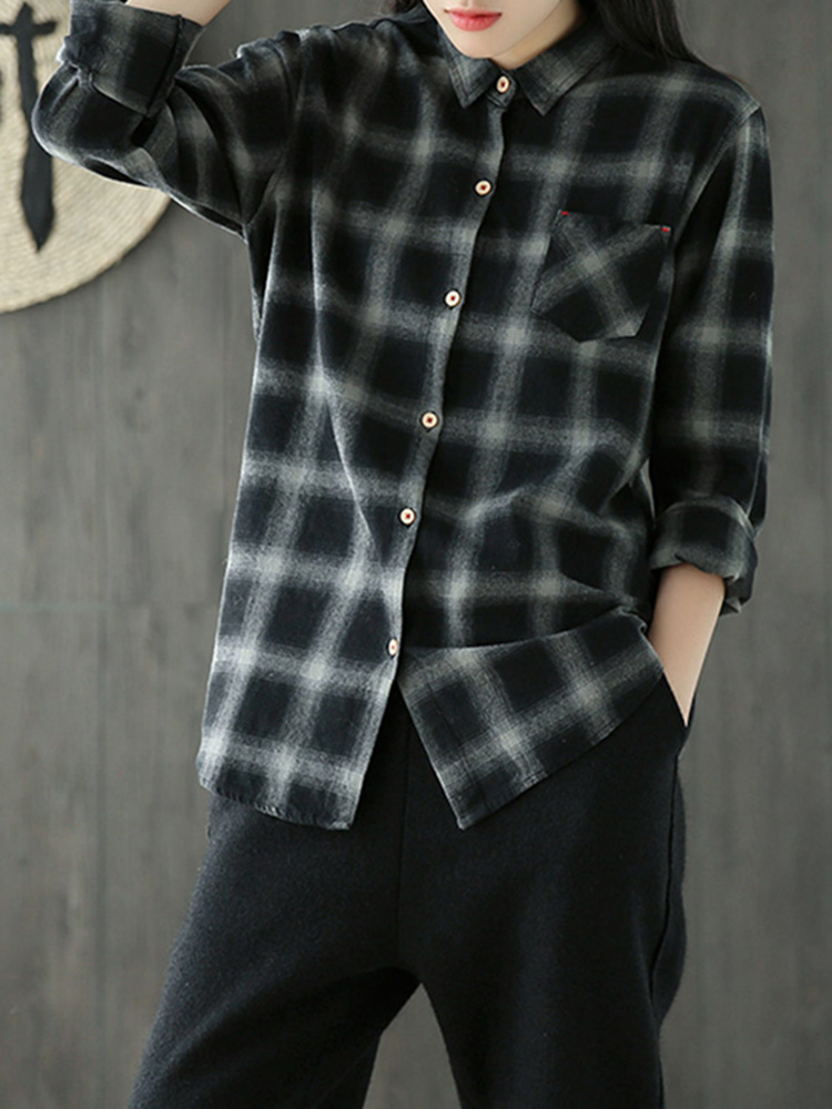 Casual Women Loose Plaid Lapel Long Sleeve High Low Blouse