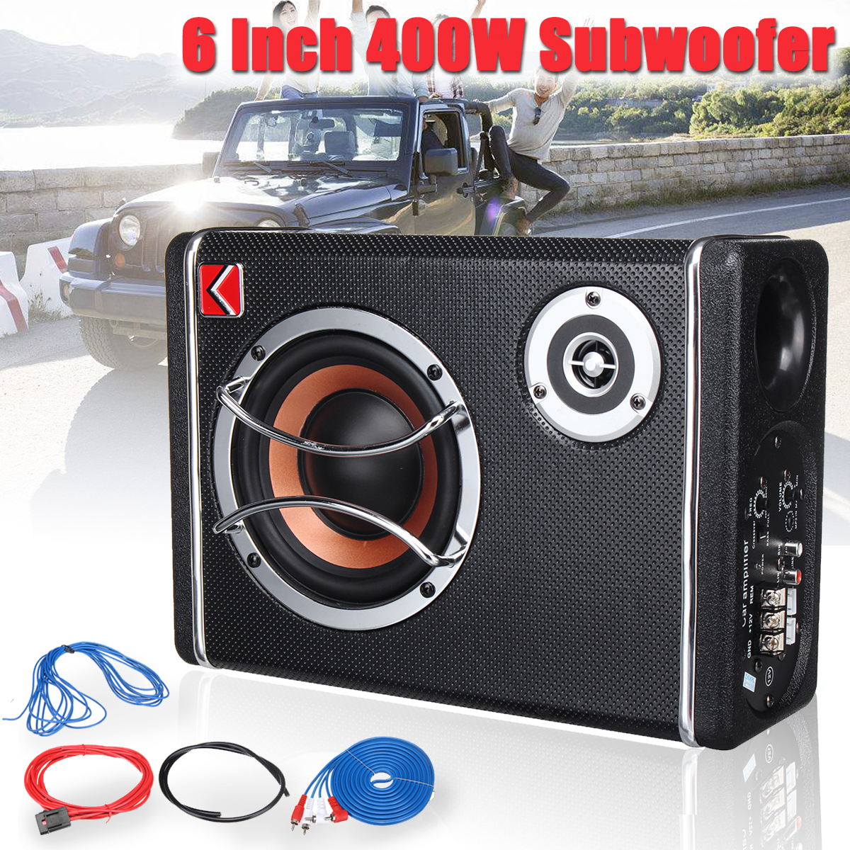 K-CP6 6 Inch 400W 12V Car Home Active Subwoofer Under Seat Sub Audio Speaker Music System Sound
