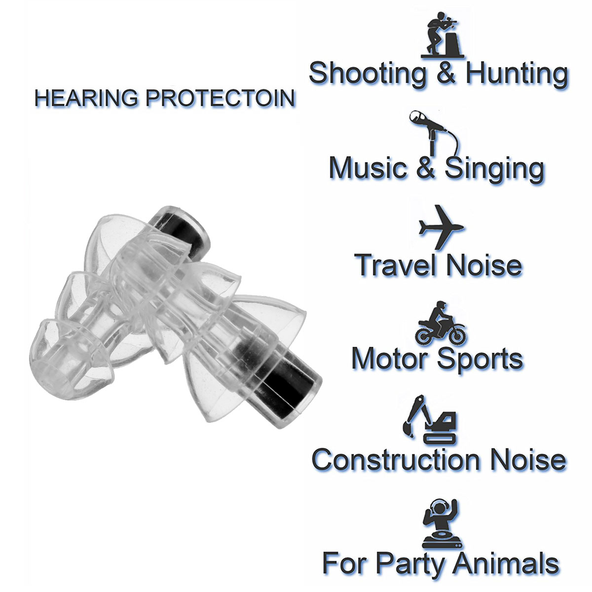 Noise Canceling Earplugs For Concert Musician Live Motorcycle Hearing Swimming Protection