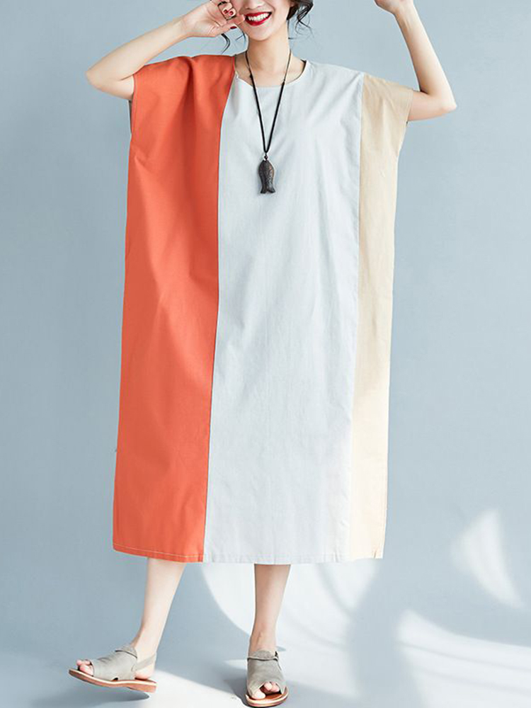 Women Casual Two-tone Patchwork Loose A-line Dress