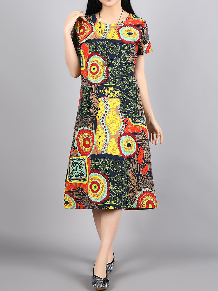 Ethnic Women Short Sleeve O-Neck Printed Pockets Dresses