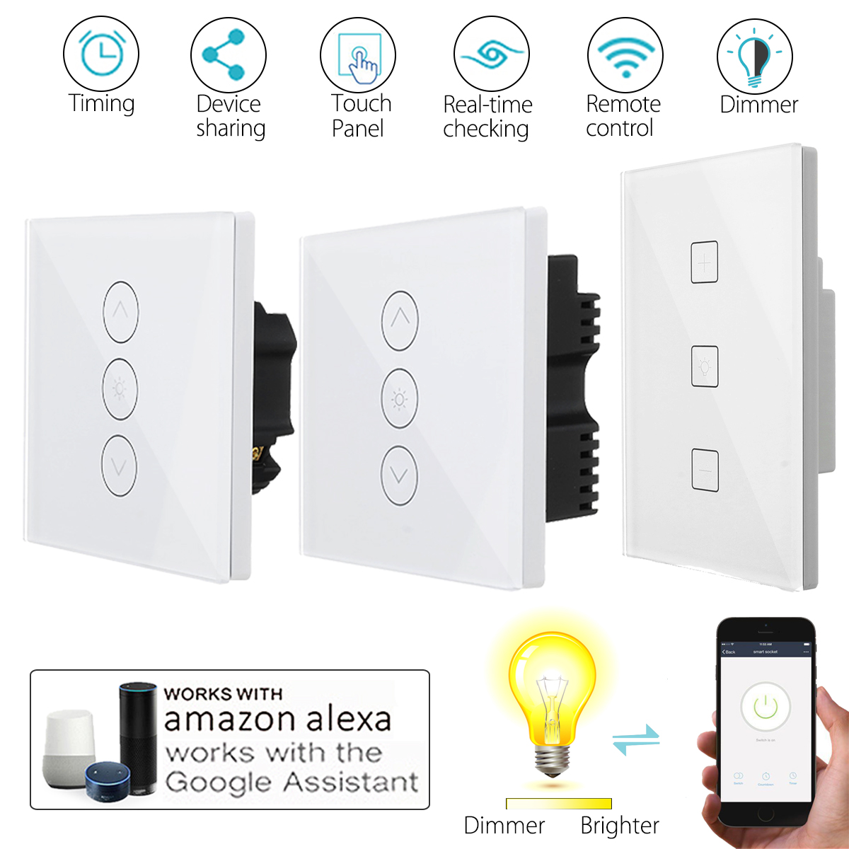 WIFI Smart Dimmer Light Wall Switch Touch Remote Control Work with Alexa/Google Home