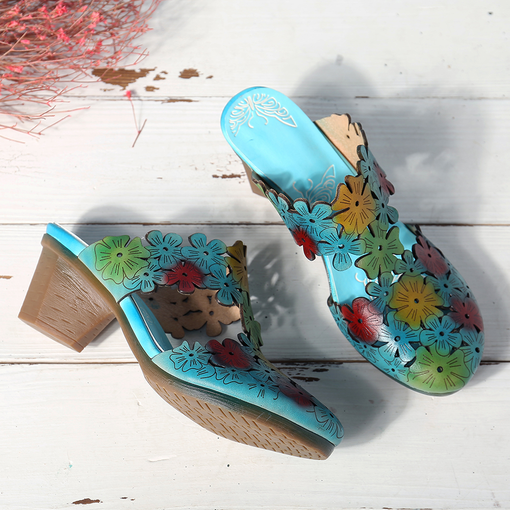 Socofy Women Hollow Out Floral Elegant Slippers