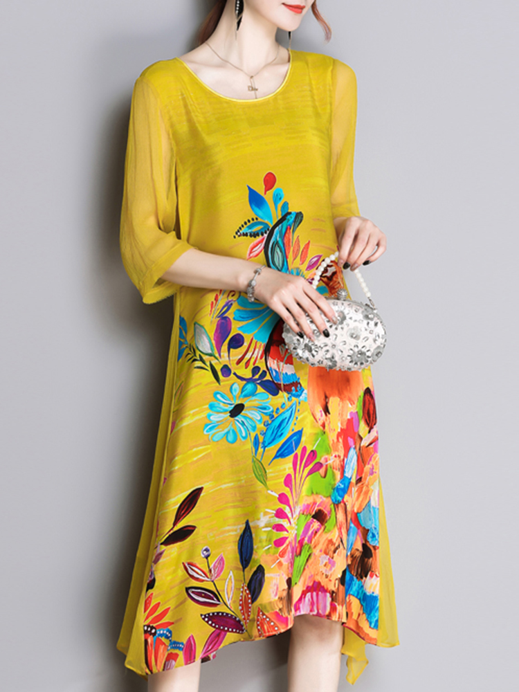 Elegant Floral Print Irregular Silk Dress