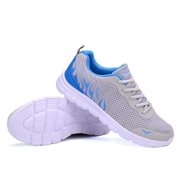 Summer Men Casual Outdoor Sport Running Breathable Mesh Soft Lace Up Flat Athletic Shoes