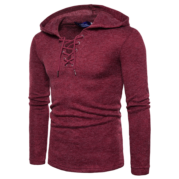 Men's Fashion Rope Collar Solid Color Hooded Tops
